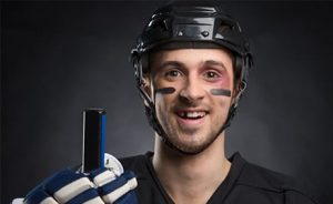 jockey player smiling