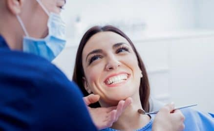 patient undergoing a routine dental exam