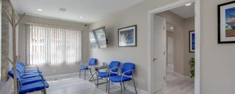 interior shot of a waiting room at a dentist practice at a dental365 location in Croton on the Hudson