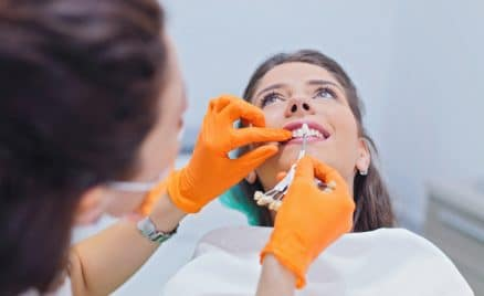 woman getting dental crown